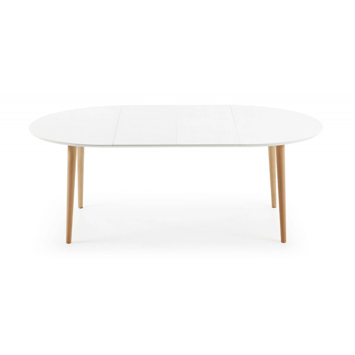 Mesa extensible madera lacada blanca scandy for Mesa extensible de madera