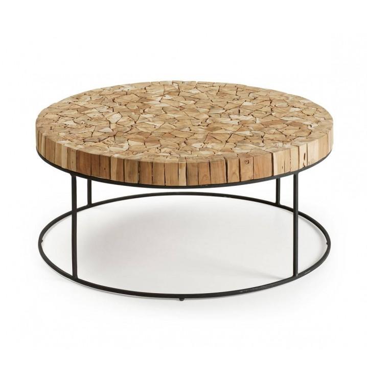 Mesa redonda troncos natural