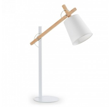 Lámpara de Sobremesa Metal Madera Blanco Nordic Style