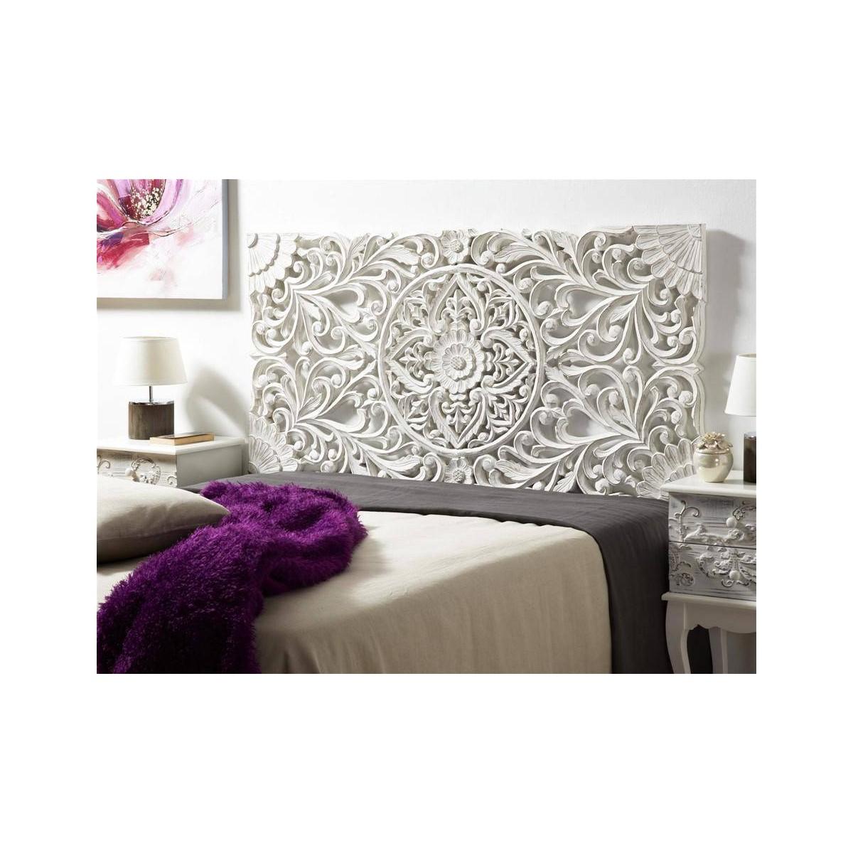Cabecero de cama madera blanca tallada - Cabecero mandala ...