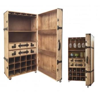 Mueble bar botellero madera natural ruedas retro clásico liso