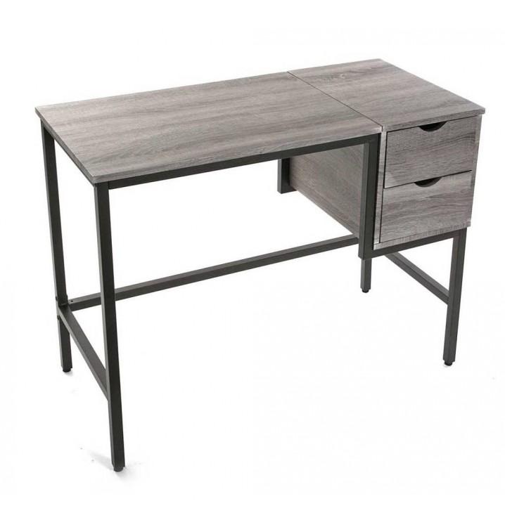 Mesa escritorio individual estudio cajones gris y negra