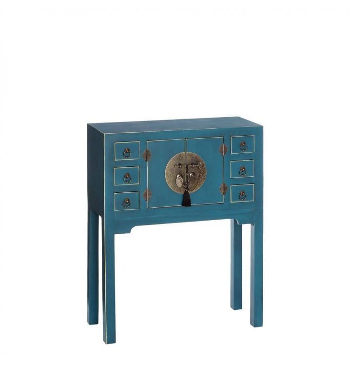 Consola Japo azul 2 puertas 6 cajones madera colores del mundo