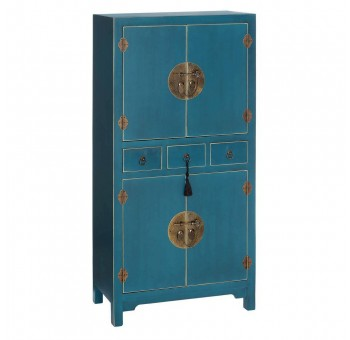 Mueble auxiliar Japo azul 4 puertas 3 cajones madera colores del mundo