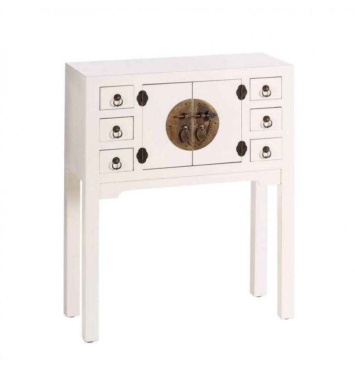 Consola Japo blanco 2 puertas 6 cajones madera colores del mundo