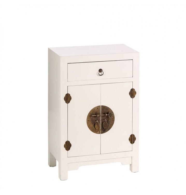 Mesita noche Japo blanco 2 puertas 1 cajón madera colores del mundo
