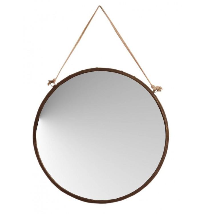 Espejo pared grande redondo metal óxido cuerda grande