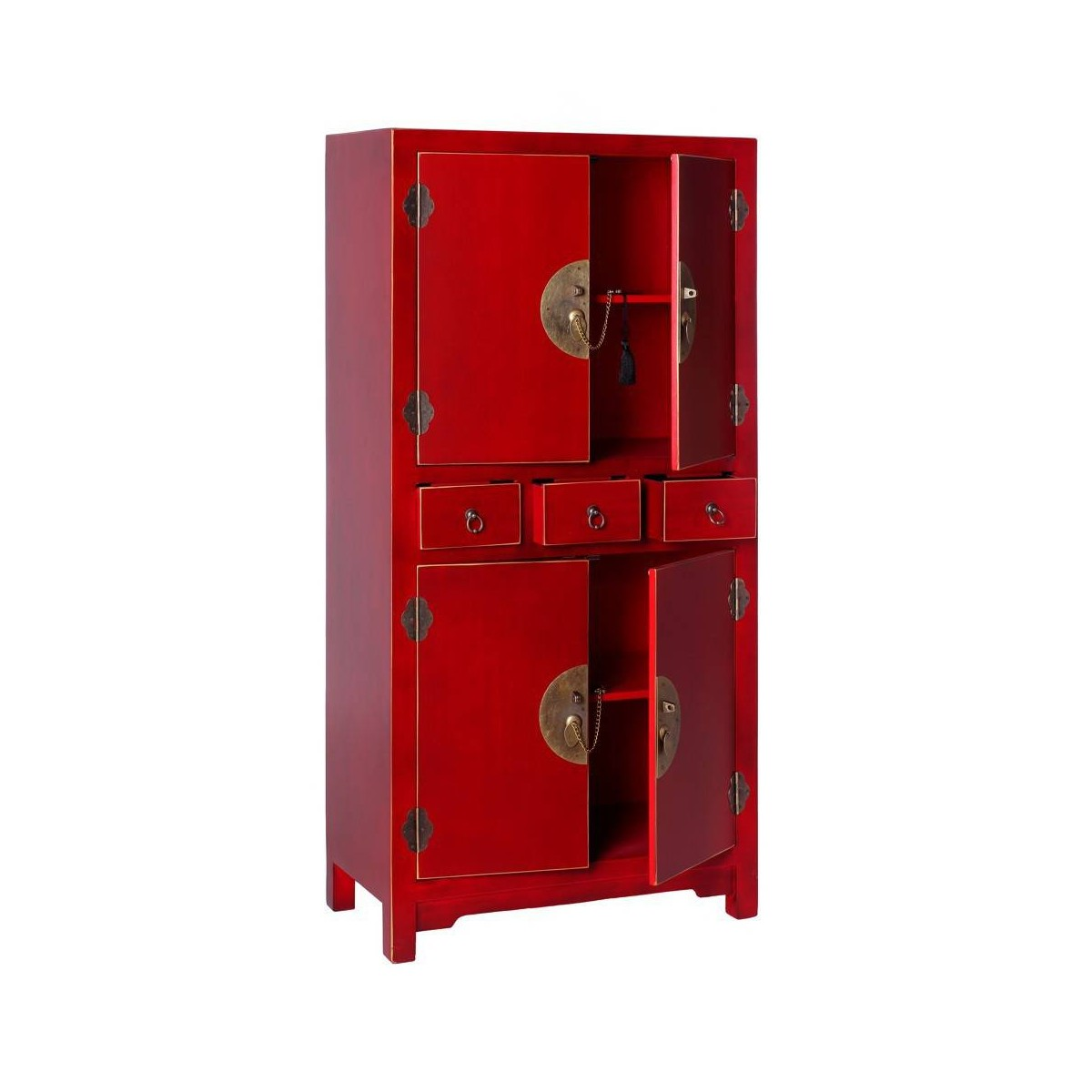 Mueble auxiliar japo rojo 4 puertas 3 cajones madera for Mueble 4 puertas