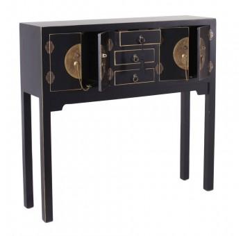 Consola Japo negro 4 puertas 3 cajones madera colores del mundo