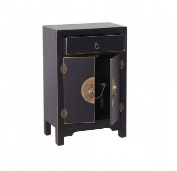 Mesita noche Japo negro 2 puertas 1 cajón madera colores del mundo