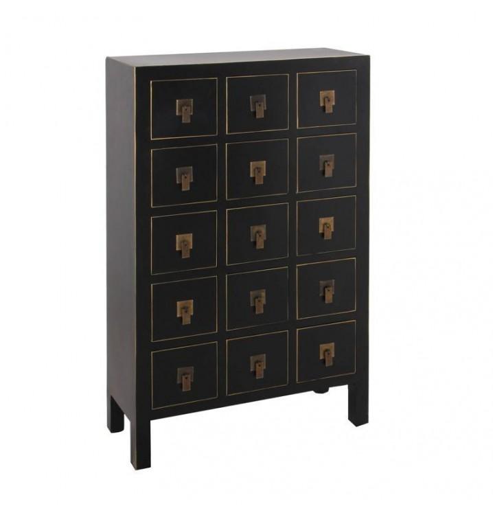 Mueble auxiliar Japo negro 15 cajones madera colores del mundo