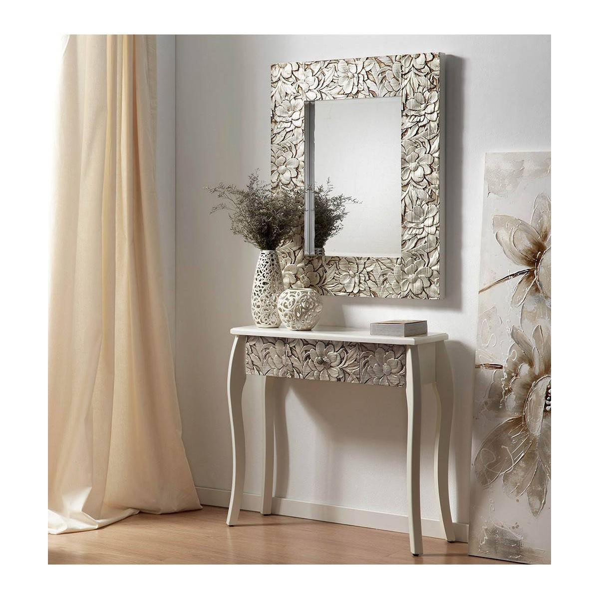 Espejo grande madera tallada plata for Disenos de espejos tallados en madera