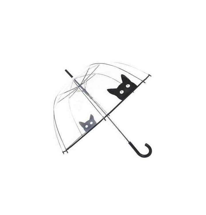 Paraguas transparente adulto diseño gato