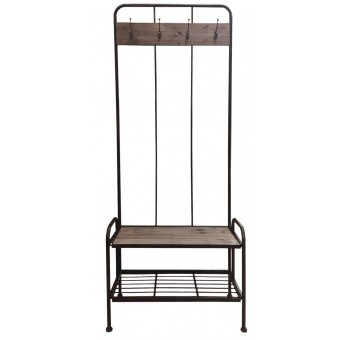 Mueble entrada perchero metal con estantes industrial