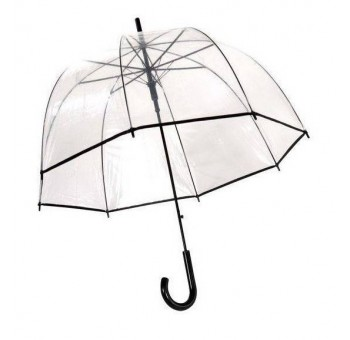 Paraguas seta transparente adulto ribete negro