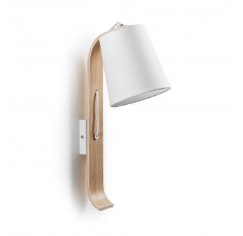 Lámpara aplique madera algodón blanca nórdica