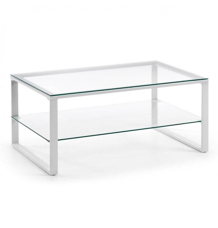 Mesa centro epoxy blanco metal cristal Casual