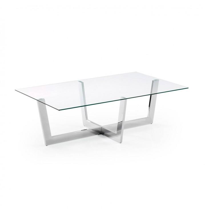 Mesa centro metal cromado cristal transparente Casual