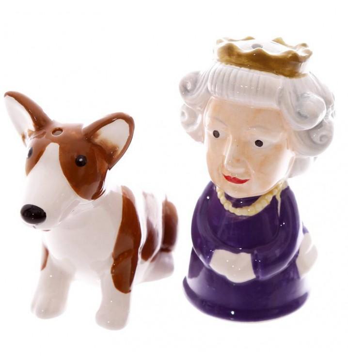 Salero y pimentero Reina de Inglaterra con mascota