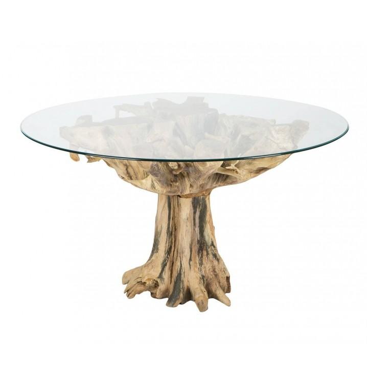 Mesa redonda ra z natural madera teka y cristal for Mesas redondas de cristal para comedor