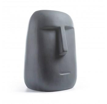 Figura Moái decoración cemento gris oscuro colores del mundo