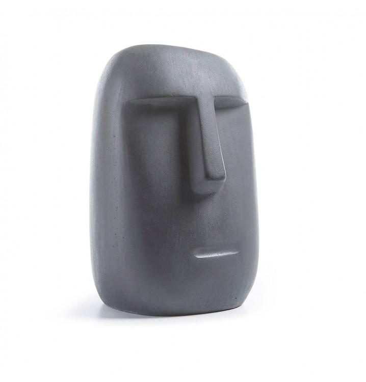Figura Moái pequeña cemento gris oscuro colores del mundo