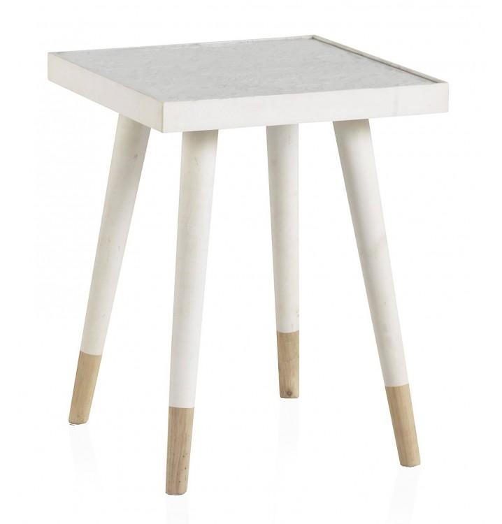 Mesita auxiliar Mogens blanca madera tallada