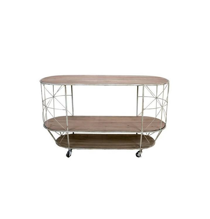 Mesa centro con ruedas 3 pisos madera metal industrial