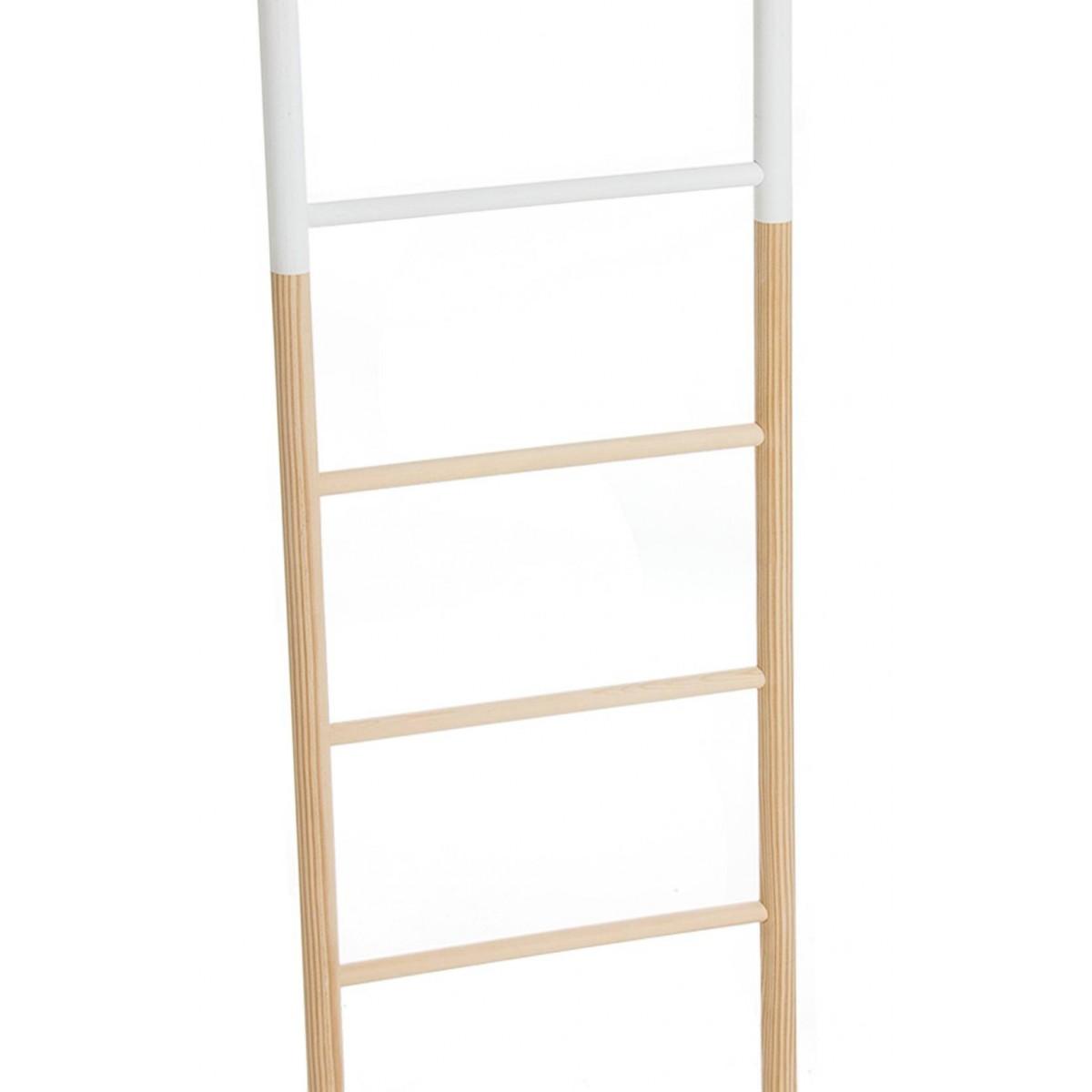 Escalera toallero decorativa madera blanca y natural Escalera decorativa blanca