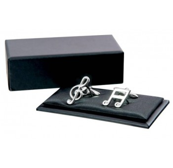 Gemelos diseño notas musicales plateados