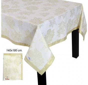 Mantel navideño tela 180x140 dorado y blanco