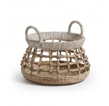 Cesta en jacinto de agua natural con detalle de blanco nórdico a32