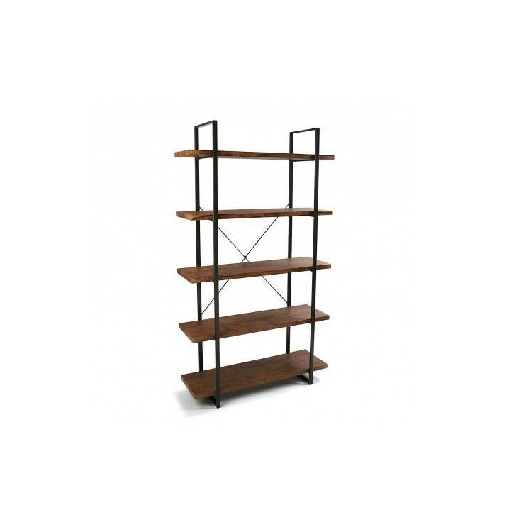 Estantería Herman 5 baldas madera natural metal industrial