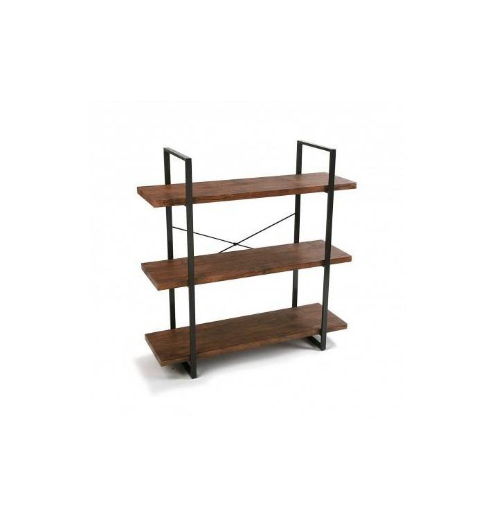 Estanter a herman 3 baldas madera natural metal industrial - Estanterias modulares de madera ...