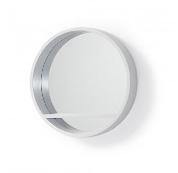 Espejo redondo Ulrica F45 balda madera de mango blanco casual