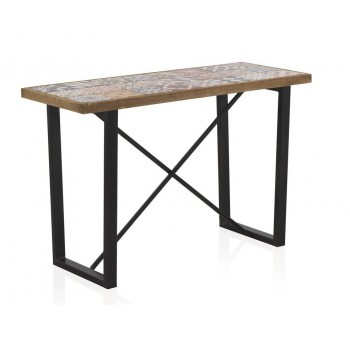 Consola madera cerámica Vejar patas metálicas