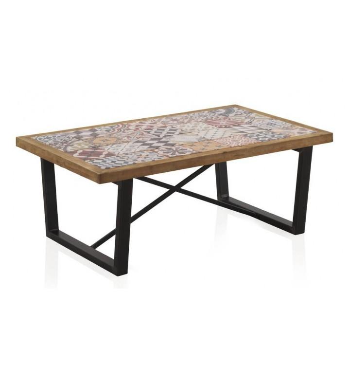 Mesa centro madera cer mica vejar patas met licas for Patas de mesa metalicas