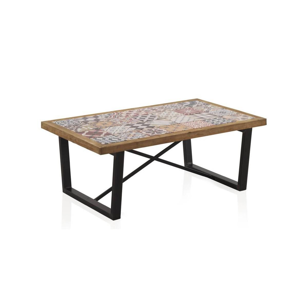mesa centro madera cer mica vejar patas met licas