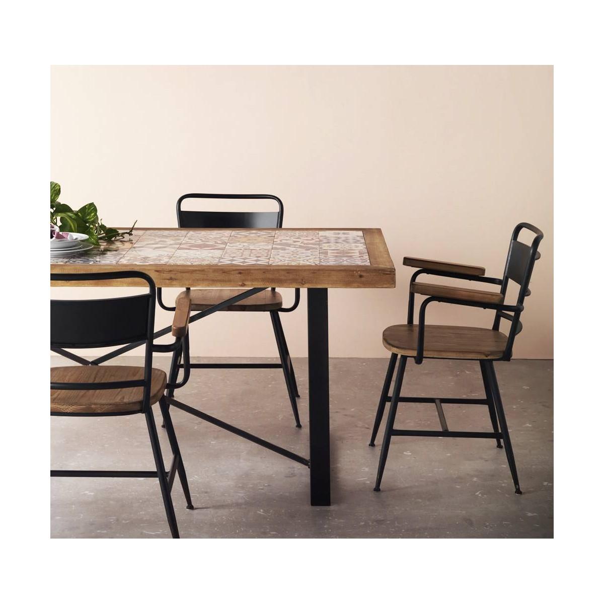 Mesa comedor madera cer mica vejar patas met licas for Patas de mesa metalicas