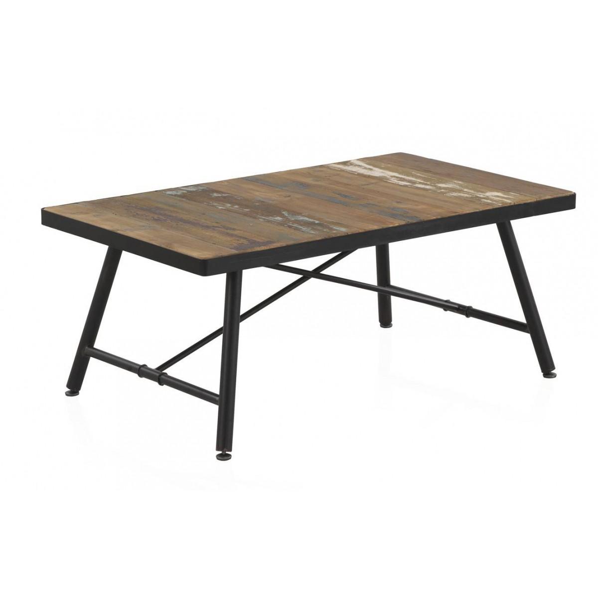 Mesa de centro screw madera y metal negro industrial for Mesa industrial de madera y metal