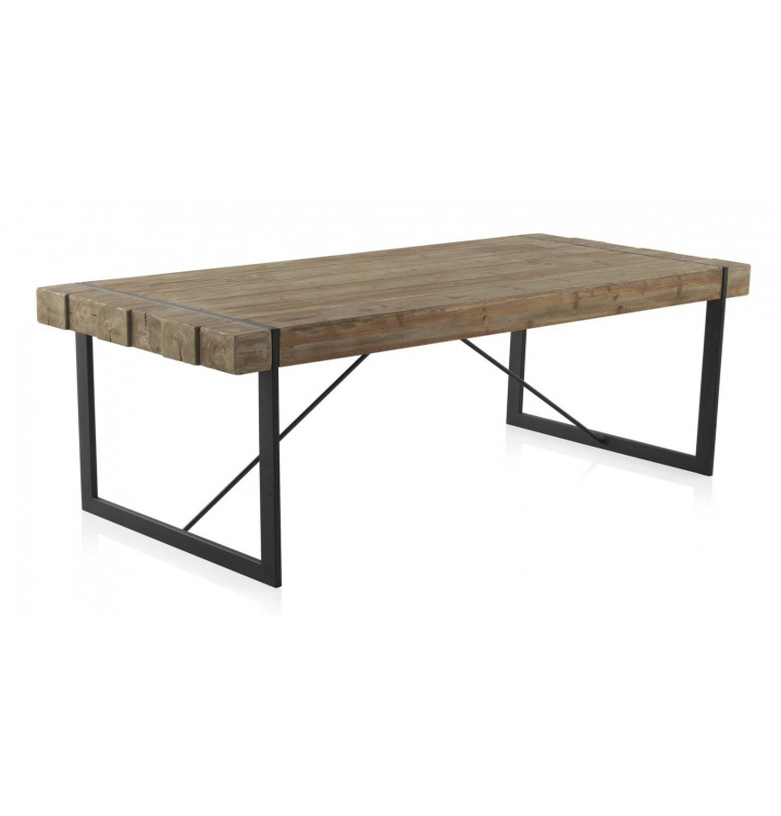 Mesa comedor madera plank abeto y metal for Mesa comedor madera y metal