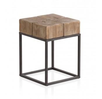 Mesa auxiliar banqueta madera Thick abeto y metal