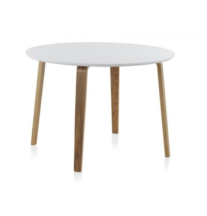 Mesa redonda comedor madera haya finland modelo 1 blanca for Mesas de comedor madera blanca