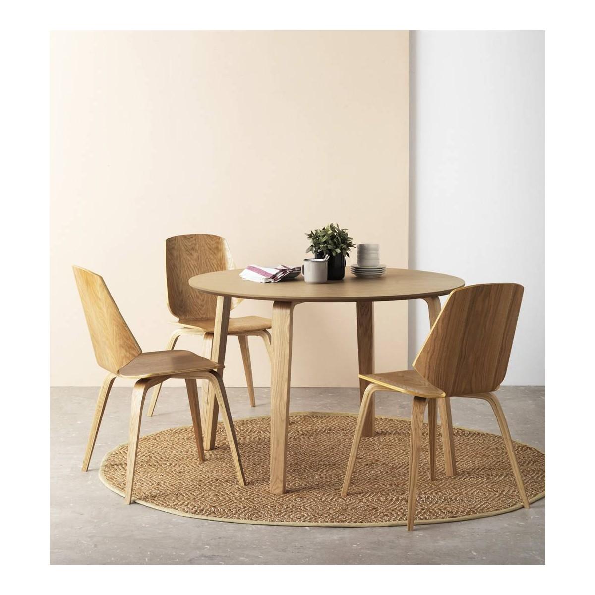 Mesa redonda comedor madera roble finland modelo 3 for Modelos de mesas de comedor de madera