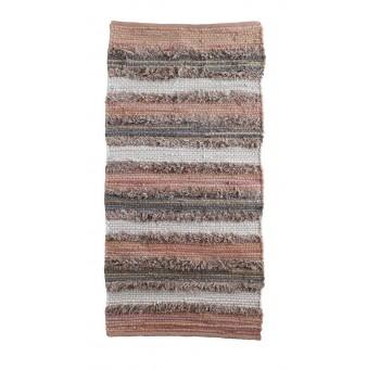 Alfombra algodón flecos multicolor pie de cama