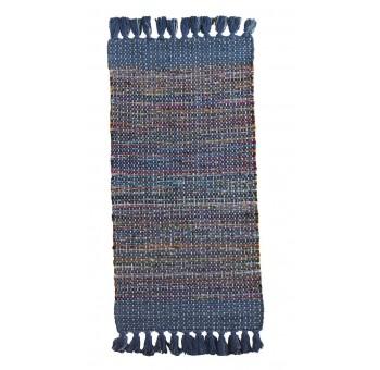 Alfombra algodón flecos azul multicolor pie de cama