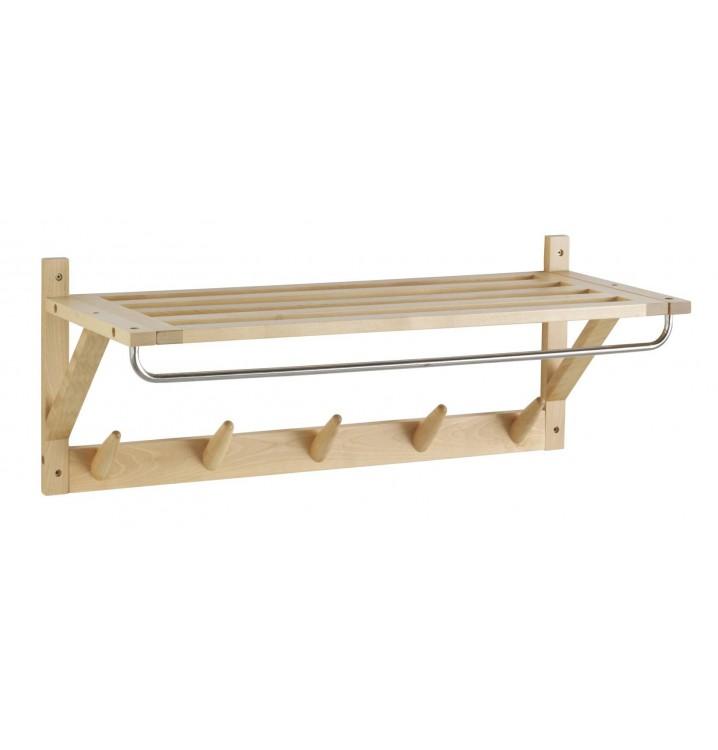 Perchero pared con repisa madera abedul natural - Perchero madera pared ...