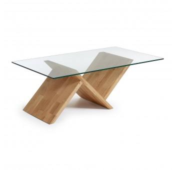 Mesa centro Trisha madera roble natural cristal casual nórdico