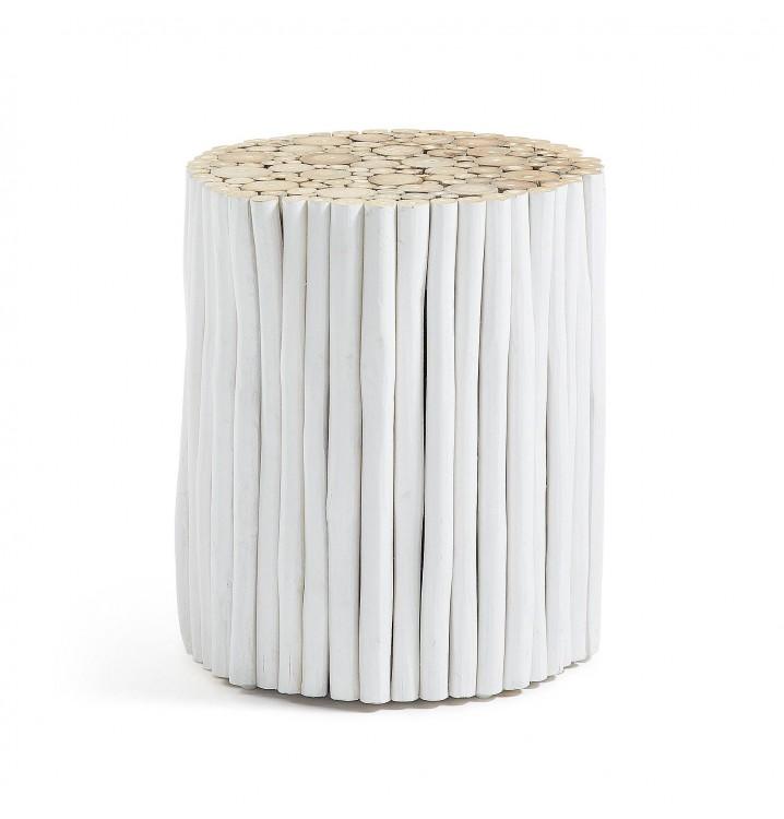 Mesa café Angelina blanca redonda ramas madera teca natural casual