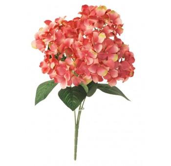 Ramo hortensias coral 4 flores artificial